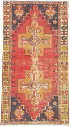 """Hand-knotted Turkish Carpet 3'8"""" x 6'11"""" Ottoman Vintage Traditional  Wool Rug"""