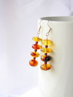 Mexican rare red amber earrings made in Chiapas, Mexico
