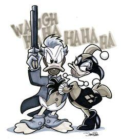 Disney Mashups - Donald and Daisy as the Joker and Harley! Dark Disney, Disney Love, Disney Art, Disney Duck, Cartoon Kunst, Cartoon Art, Disney Drawings, Cartoon Drawings, Mickey Mouse And Friends