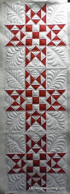 Celia's Red White Challenge - Christmas Stars - quilted by Linda of LR Designs Quilting.