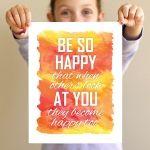 Be Happy... Free Printable Art via DabblesAndBabbles.com