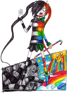 demiseman ♥ life in black and white / rainbow colour // trippy art sketch // skulls, stars and stripes
