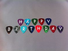 HAPPY BIRTHDAY Guitar Picks set - Great as cake decorations - HBDAY via Etsy