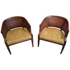 Mid Century Cane Back Barrel Chairs   A Pair  Reupholster With Some  Beautiful Fabric