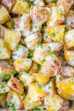 Baked Cheesy Ranch Potatoes (Just 4 Ingredients!) @natashaskitchen boiled red potatoes, garlic salt, ranch, and Mexican blend cheese