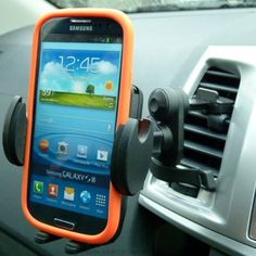 Secure Car Vehicle Air Vent Mount for Samsung Galaxy S3 S4 & S5. This holder has a higher back than some on the market and is better suited to longer smartphones like the Galaxy S3, S4 & S5. The adjustable side clamps are cushioned and unlike dedicated cradles this will accommodate a protective case or skin. All function areas remain accessible. The 'Easy Fit' vent mount has done away with the traditional plastic clips crocodile style clips and replaced them with a single metal spring…
