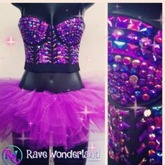 A personal favorite from my Etsy shop https://www.etsy.com/listing/233786063/womens-purple-edc-rave-crop-top-bling