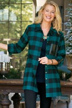 Posh Plaid Shirt I - Buffalo Check Tunic, Buffalo Check Plaid Tunic | Soft Surroundings