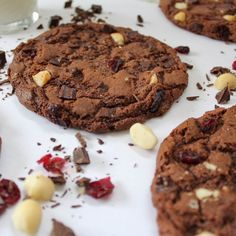 Chewy and delicious chocolate cookies with dark chocolate chips, dried cranberries and macadamia nuts.