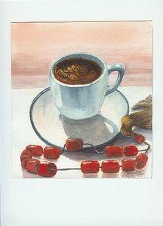 Beautiful watercolor of beautiful coffee.