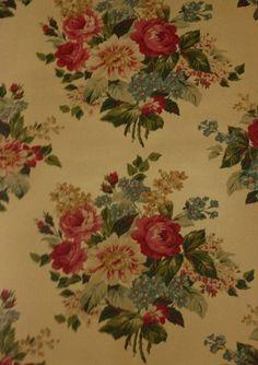 Wallpaper Designer Ralph Lauren Red Pink Roses with Blue Gold Floral on Tan Faux | eBay