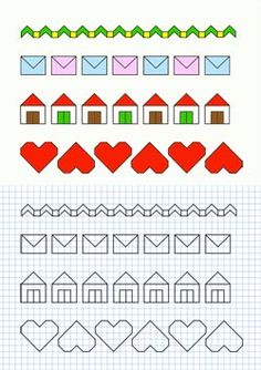 Horizontal hearts colorage for dresser or chair fabric. Graph Paper Drawings, Graph Paper Art, Blackwork Patterns, Cross Stitch Patterns, Zen Doodle, Doodle Art, Bullet Journal Key, Chair Fabric, Drawing For Kids