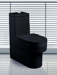 """Emiliano - Modern Bathroom Toilet 27.6"""" from TheInteriorGallery.Com.  Great for a black and white bath under the stairs in foyer"""