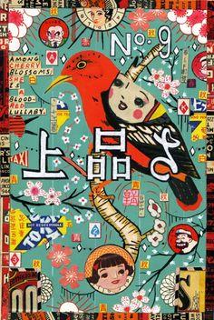 Ueno park red bird - Tony Fitzpatrick. Adore.