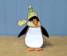 Penguin Stained Glass Suncatcher Cute Winter by StainedGlassByJenn