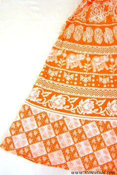 Long Skirt Elastic Waist White and Orange Jaipuri Indian Ethnic from Rajasthan…