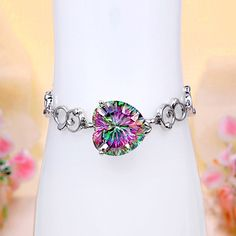 Sterling Silver Rainbow Mystic Topaz Heart Bracelet Heart Bracelet, Bracelets, Mystic Topaz, Sterling Silver Jewelry, Jewerly, Rainbow, Fashion, Jewels, Rain Bow