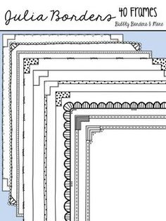 This is my newest set of doodle borders/frames! Julia Borders will help make your units look even more amazing! Each frame was created to be as close to.the edge as possible to save much needed room. All files are 300 dpi (clear & crisp printing) and will fit a whole page (letter sized) perfectly (8.5in x 11 in.)