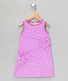 Neon Purple Stripe Shift Dress - Toddler & Girls