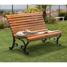 Furniture of America Gently Curved Natural Oak Outdoor Bench