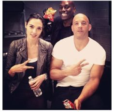 Fast 6 set Vin Diesel, Gal Gadot and Tyrese Gibson