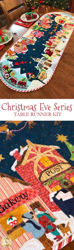 Christmas Eve Table Runner Kit - Pre-Fused/Laser-Cut Designed by and exclusively available from Shabby Fabrics, The Christmas Eve Series Table Runner will bring all the magic and whimsy of Christmas to your home!