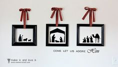 """Nativity Silhouettes: What if this idea was enlarged and placed around the """"running track"""" of worship center?  Nativity 