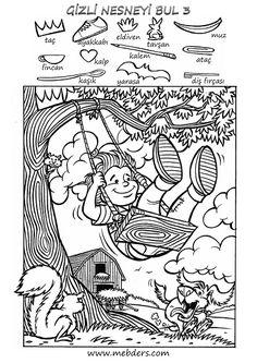 Gizli nesneyi bulma etkinliğidir. A4 boyuttaki orjinal resim için dosyayı indirebilirsiniz. Hidden Words, Hidden Images, Mazes For Kids, Worksheets For Kids, Hidden Pictures Printables, Highlights Hidden Pictures, Hidden Picture Puzzles, Coloring Books, Coloring Pages