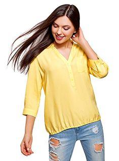 c9d5672b6d048c oodji Ultra Damen Viskose-Bluse mit Verstellbaren 3/4-Ärmeln Gelb DE 40