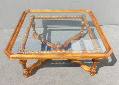 Spanish-Style Scalloped Glass Coffee Table | Chairish