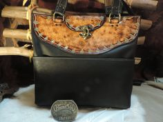 Handmade soft Black leather Tote with a hand tooled top by RoundOakLeather on Etsy