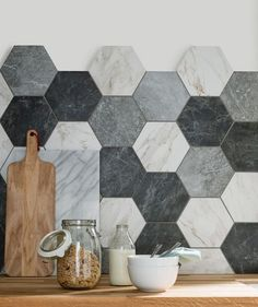 I love these hexagon tiles from topps tiles, they really add a unique look to a kitchen. gray marble tiles for kitchen Kitchen Tiles Design, Kitchen Wall Tiles, Kitchen Flooring, Grey Kitchen Walls, Kitchen Black Tiles, Bathroom Wall, Kitchen Countertops, Countertop Backsplash, Black Backsplash