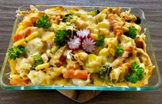 Macaroni casserole with chicken and vegetables - Obiady - Makaron Macaroni Casserole, Chicken Casserole, Chicken And Vegetables, Pasta Salad, Risotto, Potato Salad, Macaroni And Cheese, Food And Drink, Healthy Eating