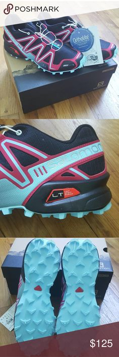 NWT! SALOMON Speedcross Black Pink Lotus 8.5 Brand new with attached tags and original box, never been worn, Salomon's most popular trail running shoe. Women's Speedcross 3 CS in Black / Pink Lotus Size US 8.5. Perfect for your upcoming races or just to look fabulous! Salomon Shoes Sneakers