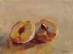 Oil painting of two halves of a peach, by Jessie Rasche.