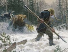 As the great black bear rushes towards him, the skilled hunter of the east Minaeth forest Imbert Saumarava take a firm grip of his bear spear and prepare to thrust it up its chest.