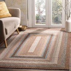Liptak hand-woven brown carpet Liptak Hand-Braided Brown Area Rug - Own Kitchen Pantry Country Rugs, Country Living, Braided Area Rugs, Casual Decor, Brown Carpet, Outdoor Area Rugs, Online Home Decor Stores, Rug Making, Beige Area Rugs
