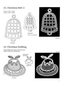 100 New Bbbin Lace Patterns Love Crochet, Irish Crochet, Bobbin Lace Patterns, Crochet Patterns, Christmas Bells, Christmas Decorations, Deco Buffet, Bobbin Lacemaking, Point Lace
