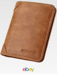 BROWN Genuine Cowhide Leather Bifold Wallet FOR MEN Cash ID Slots Card HOLDER