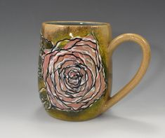 Hand crafted in Stoneware clay, this Rose will never die. Visit the Coffee Mug Section on Etsy for more mugs like this