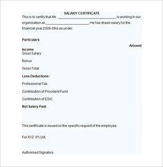 sample salary certificate letter