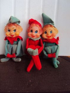 Vintage 40s Christmas Elves. My mother had these when I was a girl. She would move them around the living room while we were sleeping and pretend they did it on their own. ;) She has lost two through the years, but still has one. I am buying these for sure. Such great memories.