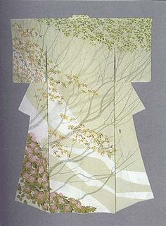 "Formal Kimono with yuzen-zome design ""Bloomong in the Remaining Snow"" by Tajima Hiroshi, Japanese National Living Treasure"