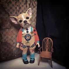 Chin Up. #anniemontgomerie #textileart #sculpture #chihuahua #puppy #taxidermy #curio #freakshow #vintage #art #design #anthropomorphic