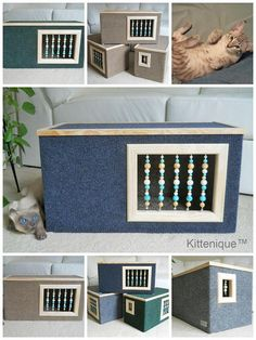Kittenique Blue Beaded Cat House. Handcrafted wooden cat house featuring a unique beaded doorway and window that will satisfy your cat's curiosity.
