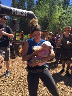 Kassidy from Team Mohawk finishes the race at #ToughMudder Tahoe in time to feed her baby! That's one Tough Mama! #comecleanwithMohawk