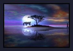 Moonlit Childhood Fantasy  (Landscapes from:  http://foundwalls.com/tree-sea-moon-reflection-island-stars-night/  and http://www.indiwall.com/wallpaper/download-mirror-reflection-wallpaper/  and silhouette of child:  http://www.123rf.com/photo_2220552_silhouette-of-little-girl-with-toy-offence.html )