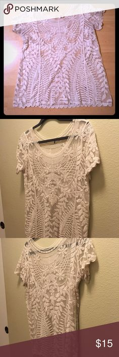 Lace top Pretty lace top. Soft lace in off-white color. Tops