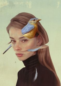 Draw Portrait Poetic Digital Illustrations by Aykut Aydogdu – Inspiration Grid Illustration Inspiration, Illustration Art Nouveau, Portrait Illustration, Illustration Pictures, Animal Illustrations, L'art Du Portrait, Portrait Paintings, Digital Portrait Painting, Self Portrait Drawing