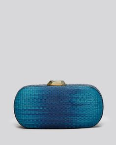 Rafe New York Clutch - Mary Alice Buntal Oblong Box | Bloomingdale's in blue ombre' with snakeskin trim and mother-of-pearl faceted clasp and drop in chain strap available @Bloomingdale's online